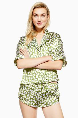Topshop Womens Animal Print Satin Pyjama Shorts - Green