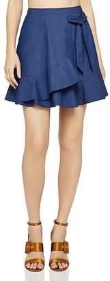 BCBGeneration Faux-Wrap Denim Mini Skirt