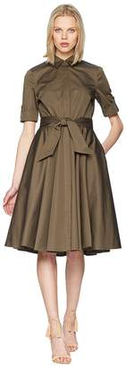 Badgley Mischka Day to Evening Shirtdress w/ Circle Skirt Women's Dress