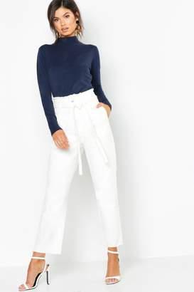 boohoo Paperbag Waist Straight Leg Jeans