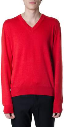 Maison Margiela Red Wool-cotton Blend V-neck Jumper