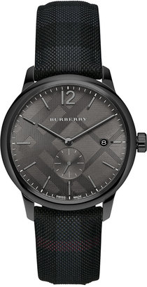 Burberry Men's Swiss The Classic Round Dark Gray Fabric Strap Timepiece 40mm BU10010 $645 thestylecure.com