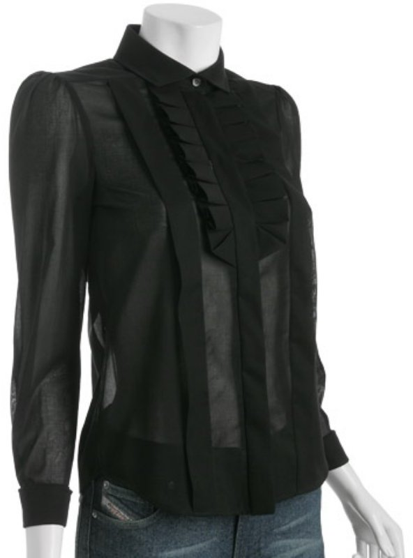 Gucci black voile ruffle trim blouse