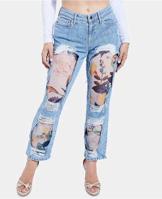 GUESS Organza Ripped Contrast Straight-Leg Jeans