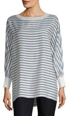 Lafayette 148 New York Joplin Stripe Knit Cuff Silk Blouse