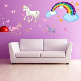 Style and Apply Unicorn Set Wall Decal With Rainbow - Girls Room Wall Decal, Sticker for Girls, Nursery Vinyl Wall Art, Kids Room Decor - DS 886 - 47in x 55in