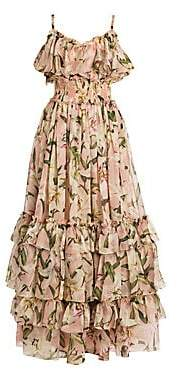 Dolce & Gabbana Women's Floral Silk Ruffle Tiered Maxi Dress