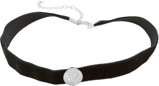 Sterling Silver Cubic Zirconia Circle Velvet Choker Necklace