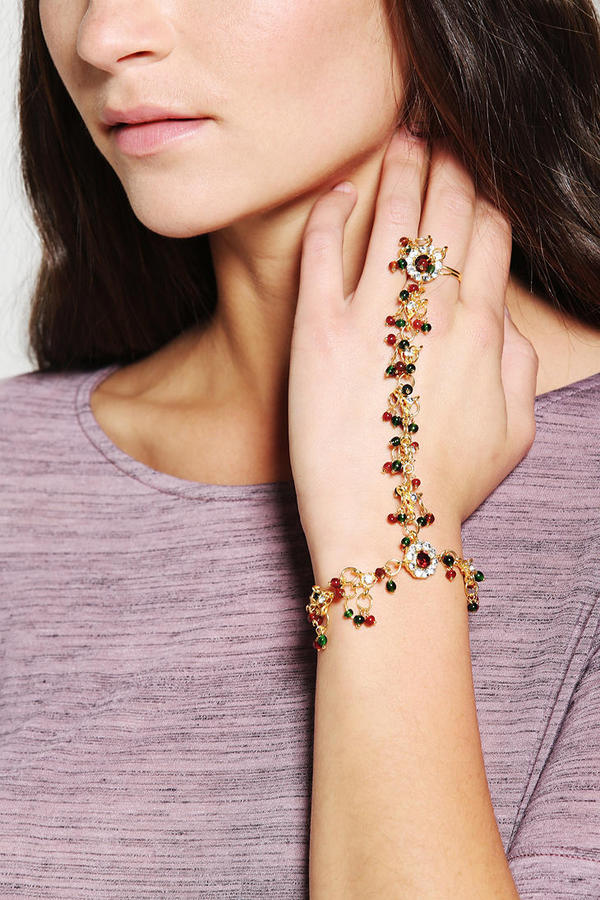 Urban Outfitters Kaveri Beaded Ring-To-Wrist Bracelet