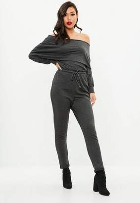Missguided Gray Bardot Overlay Casual Long Sleeve Romper
