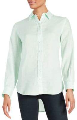 Lord & Taylor Petite Linen Hi-Low Dress Shirt