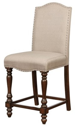 Linon Willow Counter Stool, Brown, 24.5 inch Seat Height