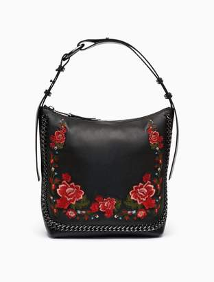 Calvin Klein floral embroidered leather hobo