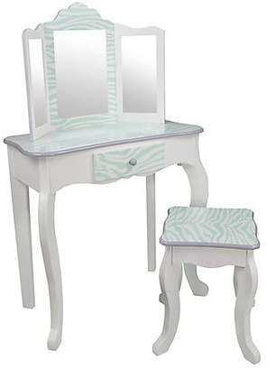 Teamson Fashion Prints Zebra Vanity & Stool Set