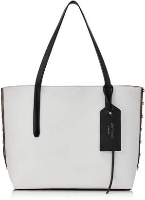 Jimmy Choo TWIST EAST WEST Black and Optical White Mix Leather Tote Bag