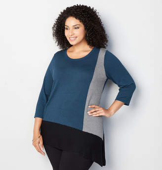Avenue Colorblock Asymmetric Sweater