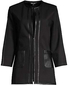 Misook Women's Faux Leather Trim Ponte Jacket