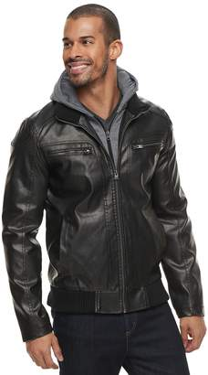 X-Ray Xray Men's XRAY Faux-Leather Hooded Moto Jacket