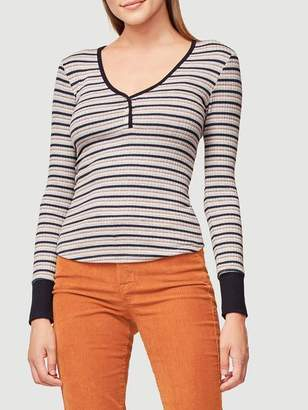 Frame Stripe Henley Long Sleeve