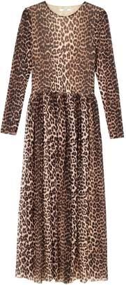 Ganni Printed Mesh Maxi Dress in Leopard