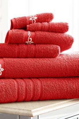Amrapur Fleur/Swirl Embroidered Towels - 6 Piece Set - Cranberry/Ivory