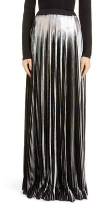 Balmain Hologram Plisse Jersey Maxi Skirt