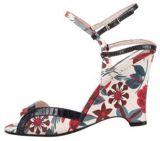 Laurence Dacade Leather-Trimmed Canvas Wedge Sandals