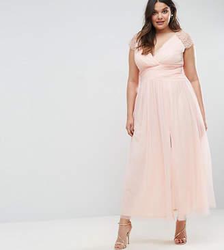 Little Mistress Plus Maxi Dress With Lace Shoulder