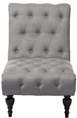 Baxton Studio Layla Mid-Century Retro Modern Gray Fabric Upholstered Button-Tufted Chaise Lounge
