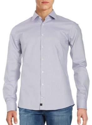 Strellson Textured Button-Down Shirt with Pocket Square