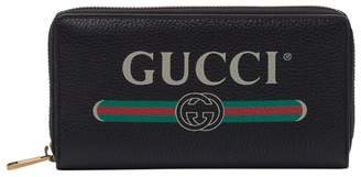 Gucci Print Wallet In Leather With Zipper