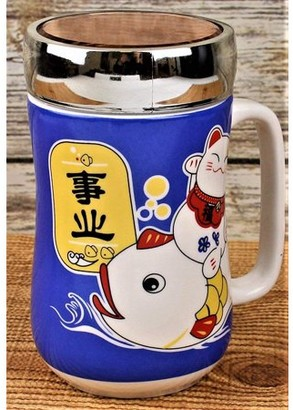 JuJu Smiling Ceramic Tea Cup Porcelain Coffee Mug for Latte Expresso Mocha Green BlackTea Cute Maneki Neko Cat Design w Lid 12 oz packed in a nice gift box