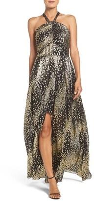 Women's Shoshanna Soho Metallic Georgette Gown $570 thestylecure.com