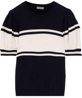 Joie Rolana Striped Cotton And Cashmere-blend Top