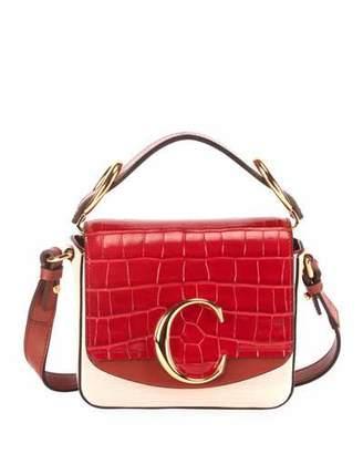 Chloé C Lizard-Embossed Crossbody Bag