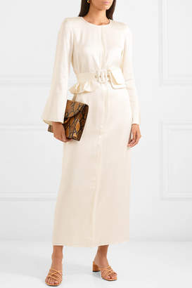 Maggie Marilyn Net Sustain Looks Like We Made It Belted Satin Maxi Dress - Ivory