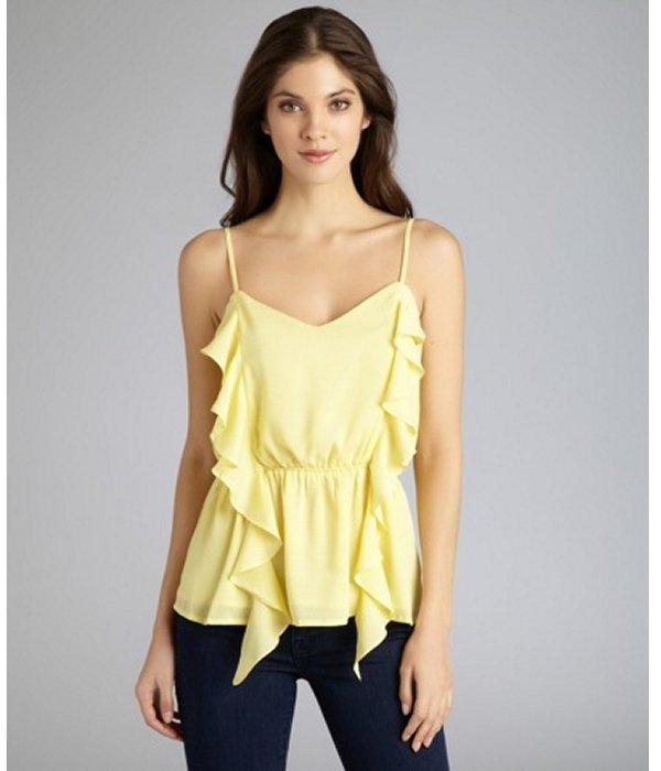 Isabel Lu yellow cotton blend spaghetti strap ruffle blouse
