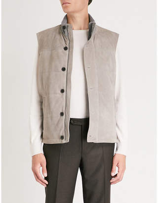 Canali Funnel-collar suede gilet