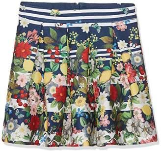 Yumi Girl's Italian Floral Stripe Skirt (Navy), Blue