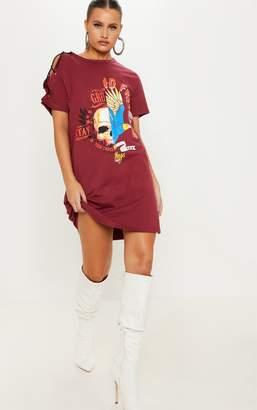 PrettyLittleThing Burgundy Tour Dates Lace Up Shoulder Oversized T Shirt Dress