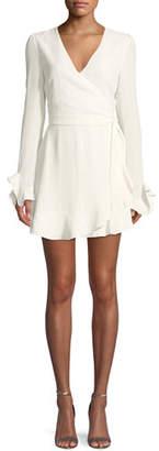 Donna Mizani Audrina V-Neck Wrap-Front Long-Sleeve Mini Cocktail Dress