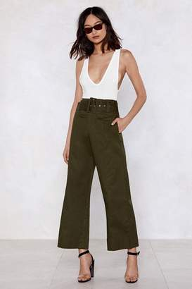 Nasty Gal Tighten Your Belt Wide-Leg Pants