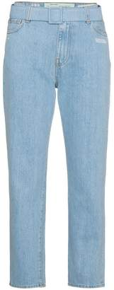 Off-White mid rise denim cropped jeans