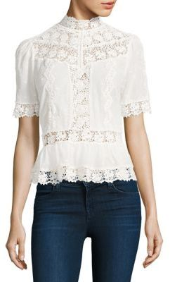 Rebecca Taylor Lace-Inset Eyelet Cotton Top $350 thestylecure.com
