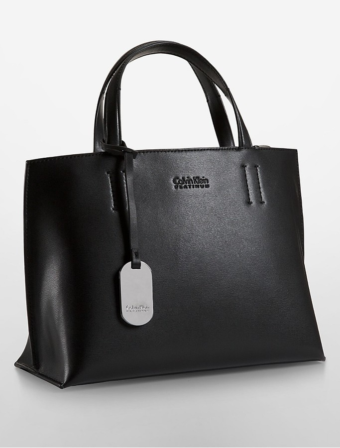 Calvin KleinPlatinum Edged Leather Tote Bag