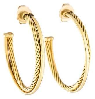 David Yurman 18K Crossover Hoop Earrings