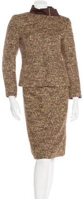 Carolina Herrera Metallic Tweed Skirt Suit $200 thestylecure.com