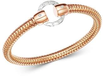 Roberto Coin 18K Rose & White Gold Primavera Diamond Circle Stretch Bangle Bracelet