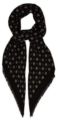 Saint Laurent Bandana Print Wool Scarf - Mens - Black