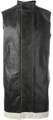 Rick Owens funnel neck waxed gilet